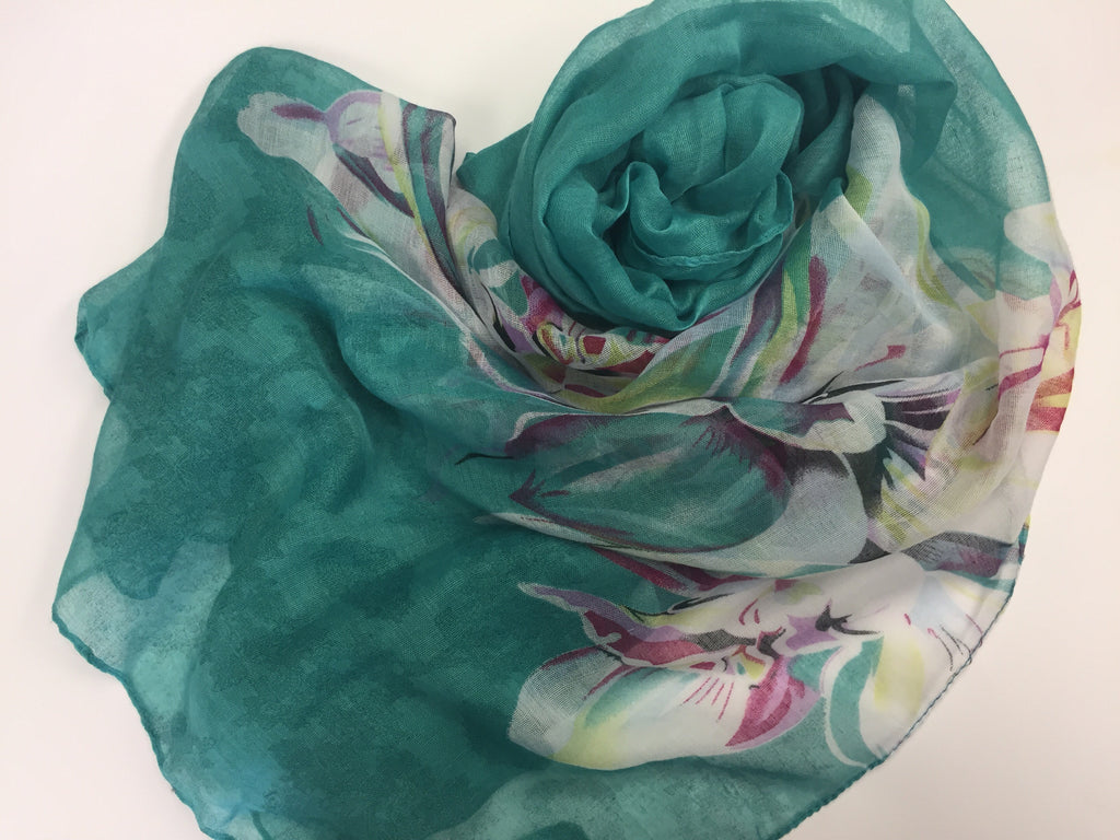 teal hijab with floral print