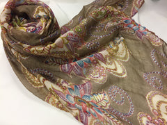 brown hijab with paisley print in creme pink and purple