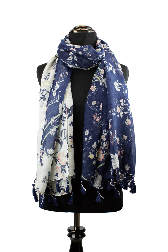 navy floral printed hijab with white and pink florals and tassels