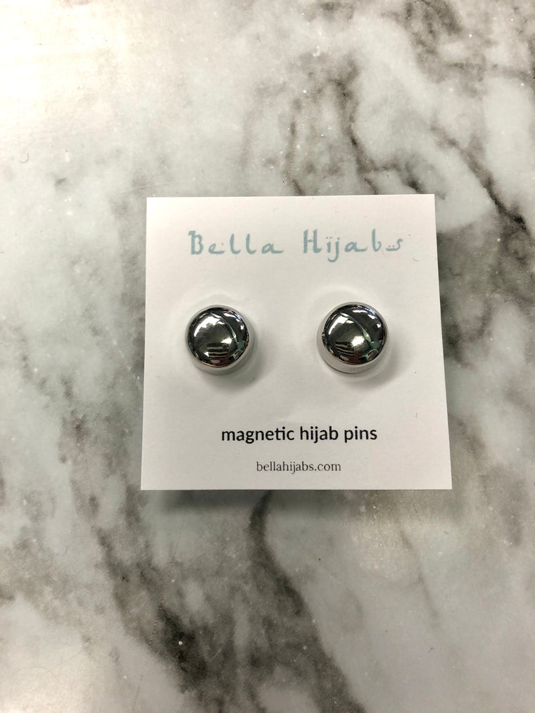 Two Glossed Magnetic Pins - Silver