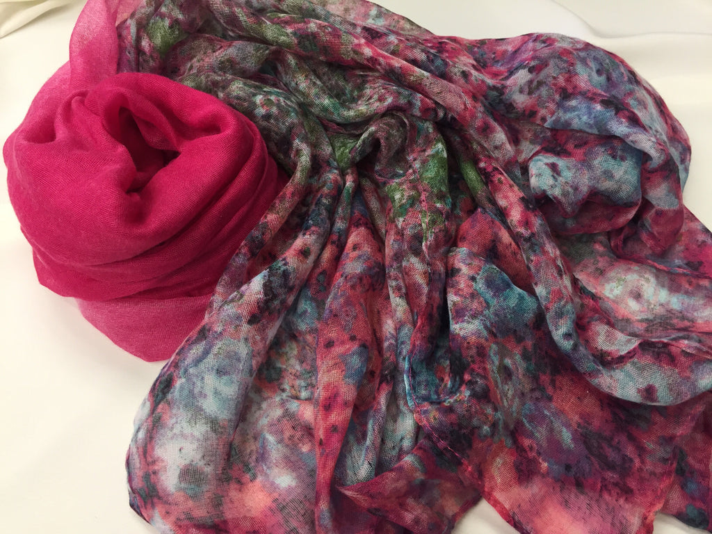 pink hijab with floral mixed print at the ends