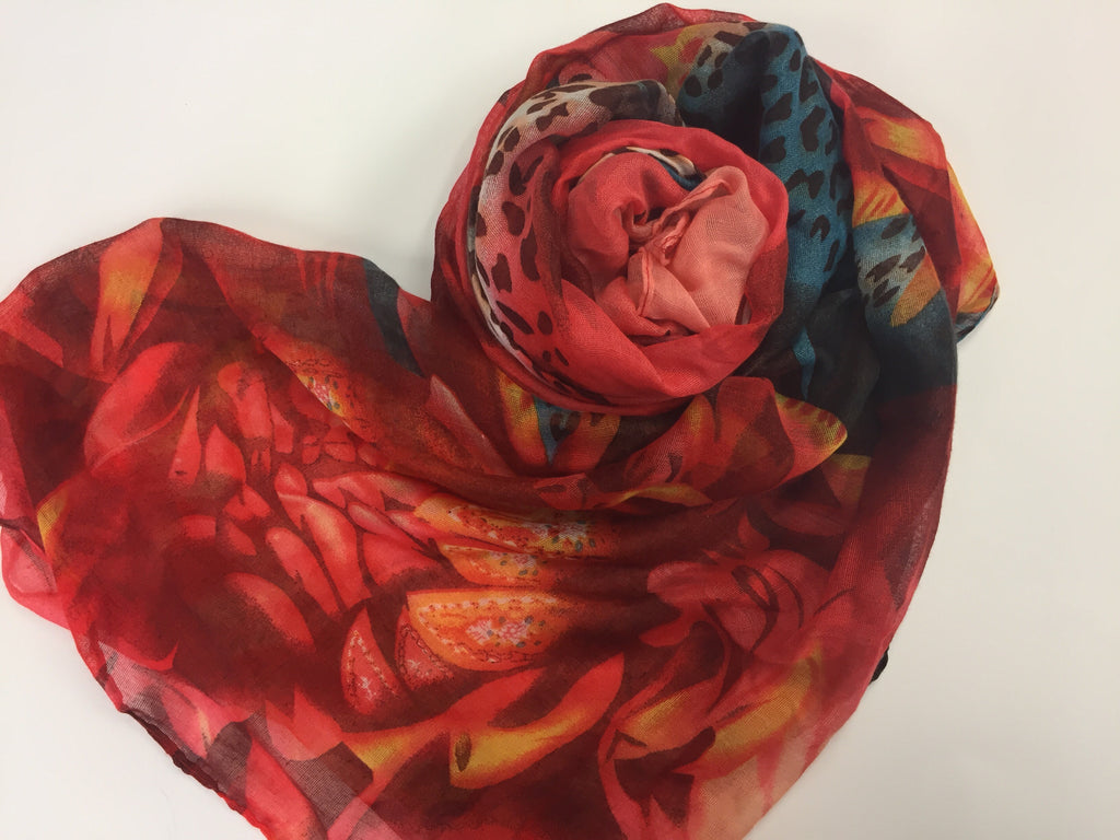mixed print hijab in red, blue, and orange