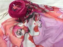 pink and red hijab printed with marilyn monroe and roses
