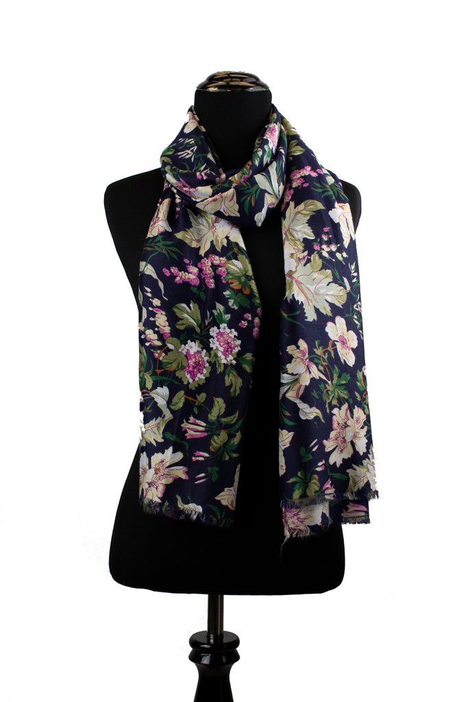 floral hijab in navy, white, pink