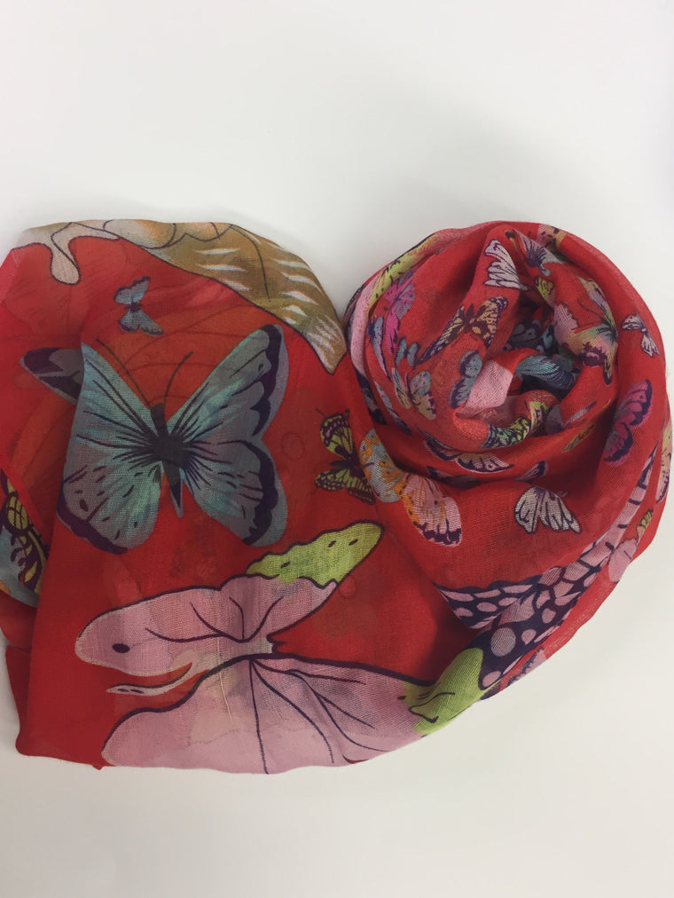 Butterfly Field Hijab - Red