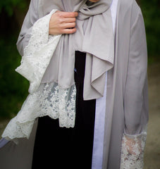 Lace Sleeve Open Abaya - Silver (Spring Meadow Lace)