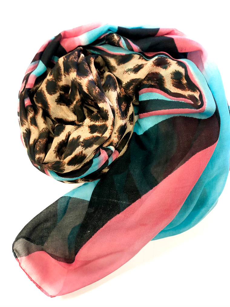 Cheetah Hijab - Pink and Cyan Swirl