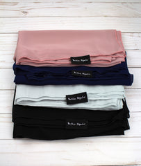 five chiffon square hijabs in mauve, black, navy, white, and silver