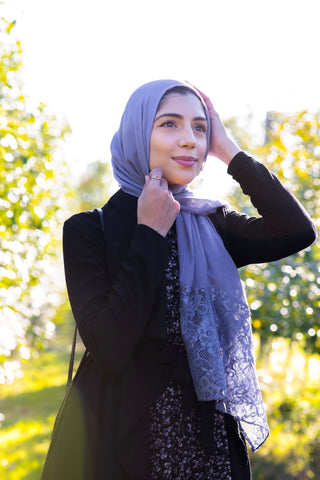 Modal Lace Hijab - Periwinkle