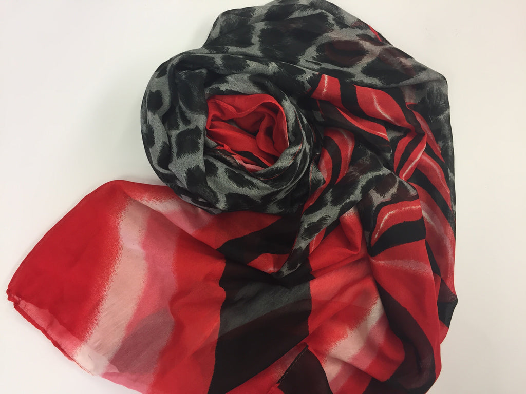 Cheetah Hijab - Red and Black Swirl