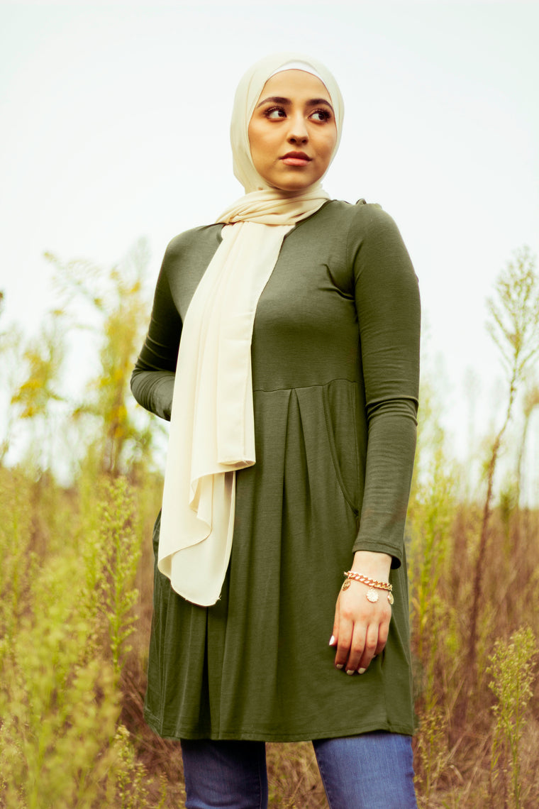 Midi Dress with Pockets - Olive Green