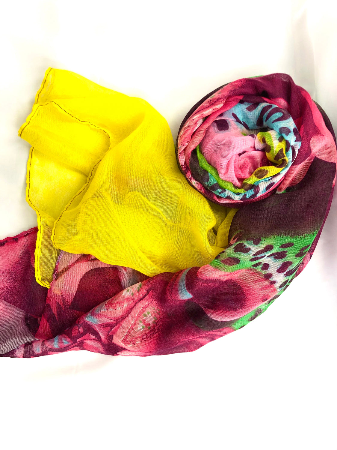 Safari Hijab- Pink/Yellow