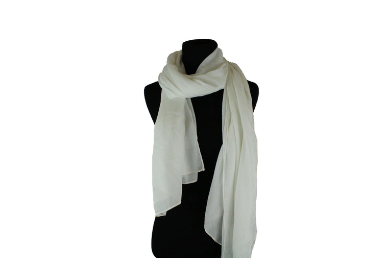 solid white hijab with crepe texture