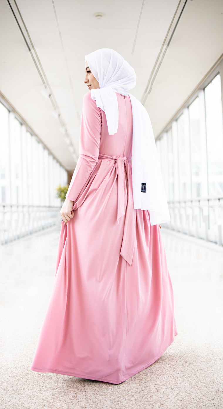 Long Sleeve Criss Cross Maxi Dress - Pink