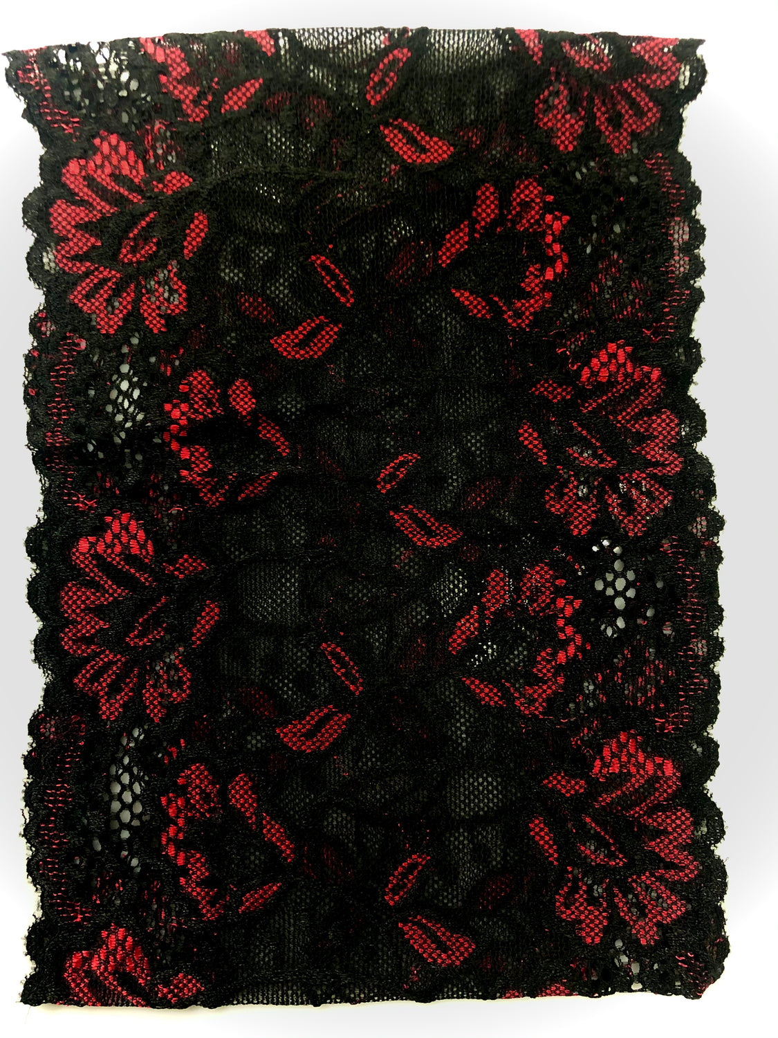 Lace Under Scarf Tube Cap - Red & Black