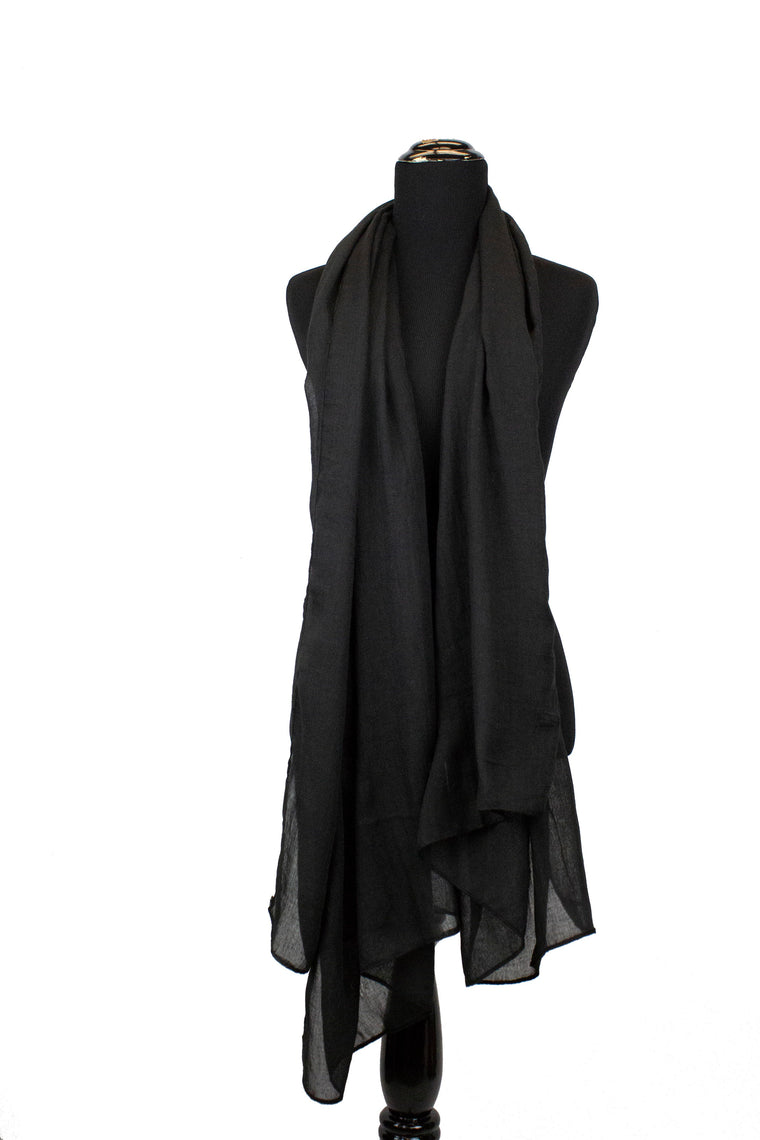 solid black viscose hijab