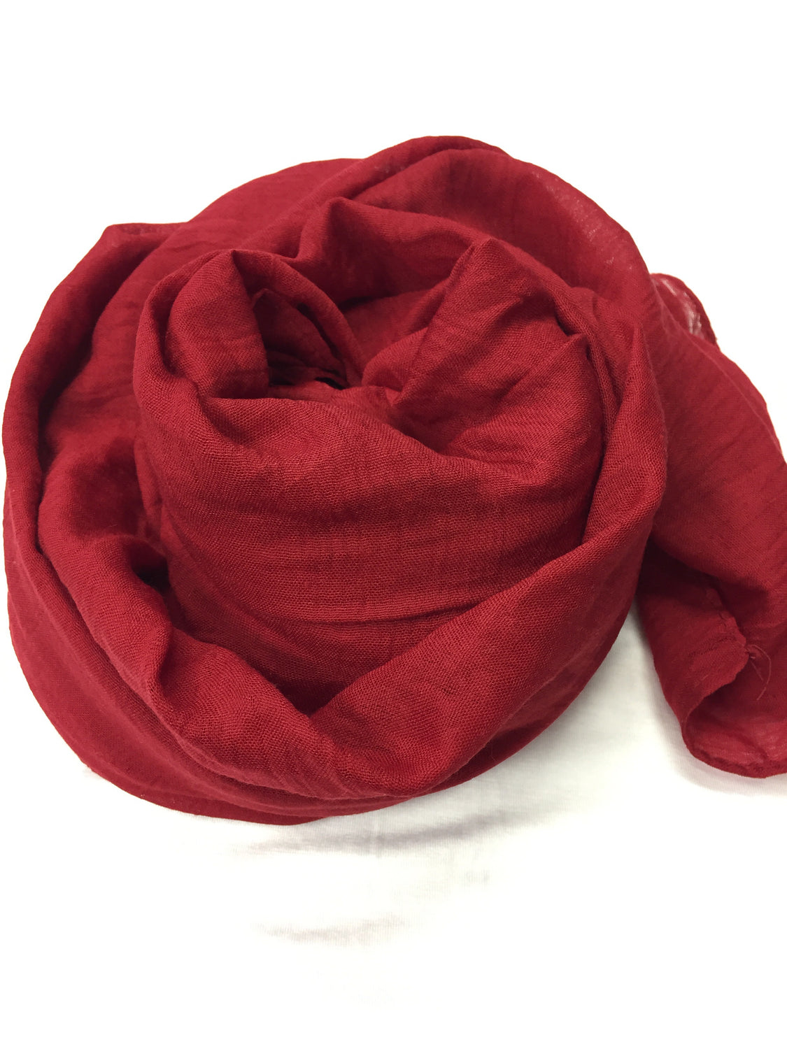 Crinkle Cotton Hijab - Dark Red