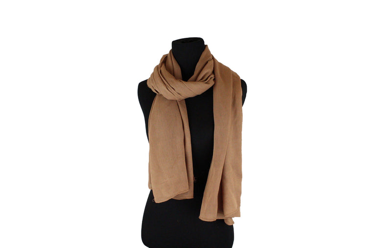 solid mocha hijab with crepe texture