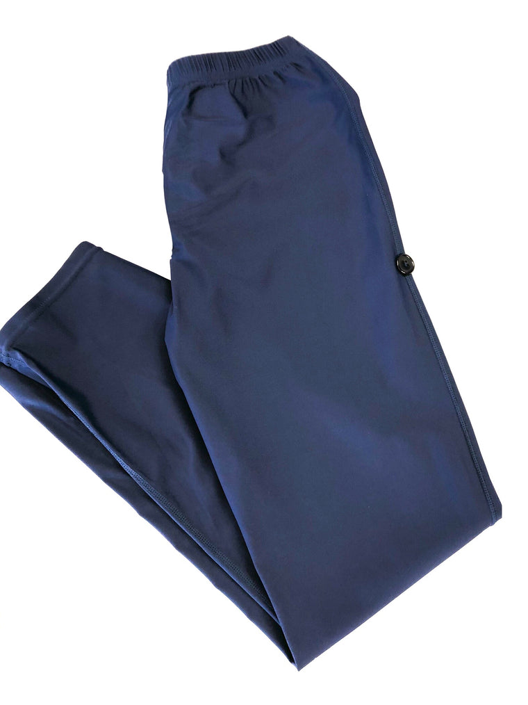 modest burkini swimsuit with hijab attached in navy and gray