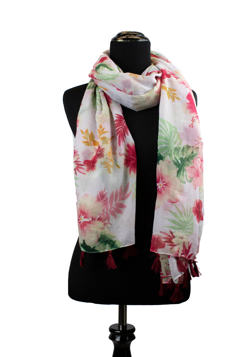 white tropical floral hijab with hot pink flowers and tassels