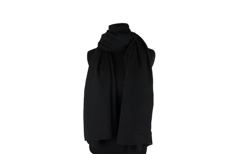 solid black hijab with crepe texture