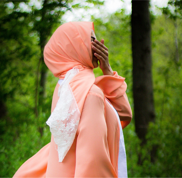 Lace Georgette Hijab - Salmon Meadow