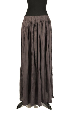 brown pleated maxi skirt