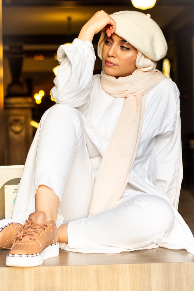 solid creme hijab with crepe texture