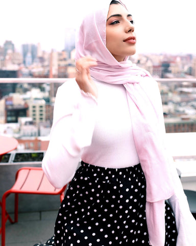 solid light pink hijab with crepe texture