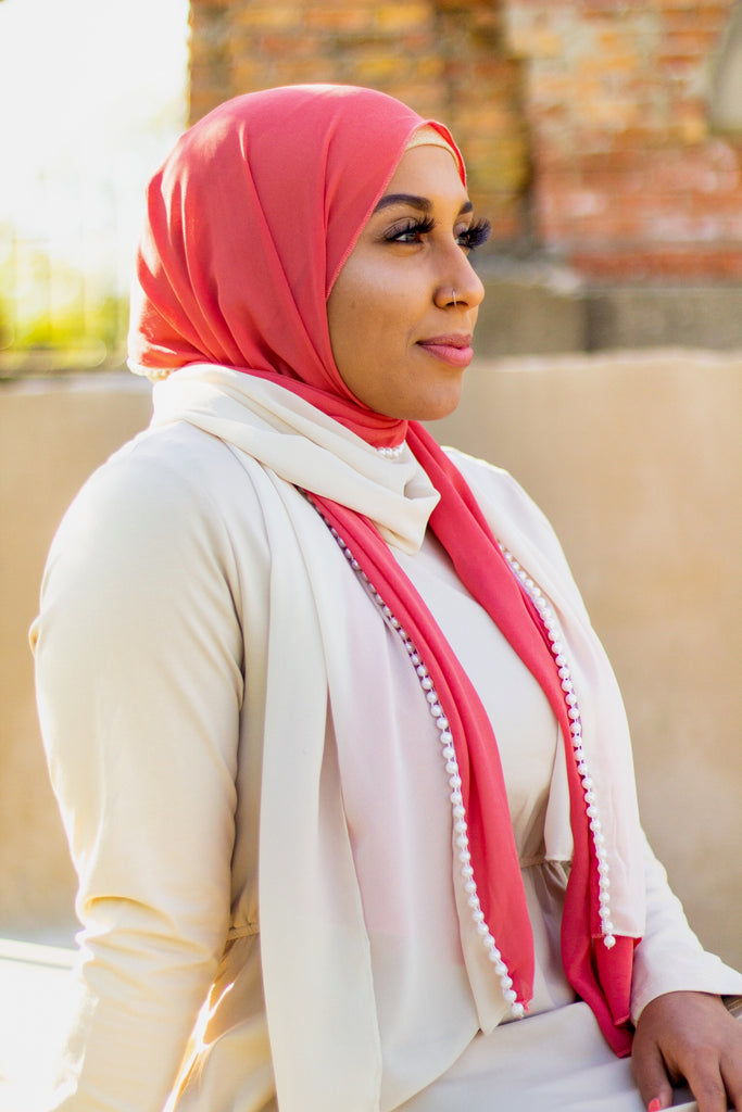 chiffon hijab with two colors creme and salmon and pearls in the middle