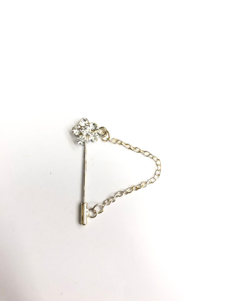 Clasp Pin - White Flower