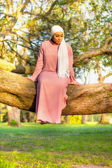 long sleeve mauve maxi dress with bell sleeves and pearls