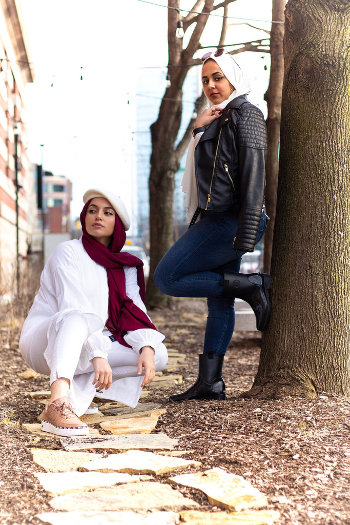 solid white and maroon hijab with crepe texture