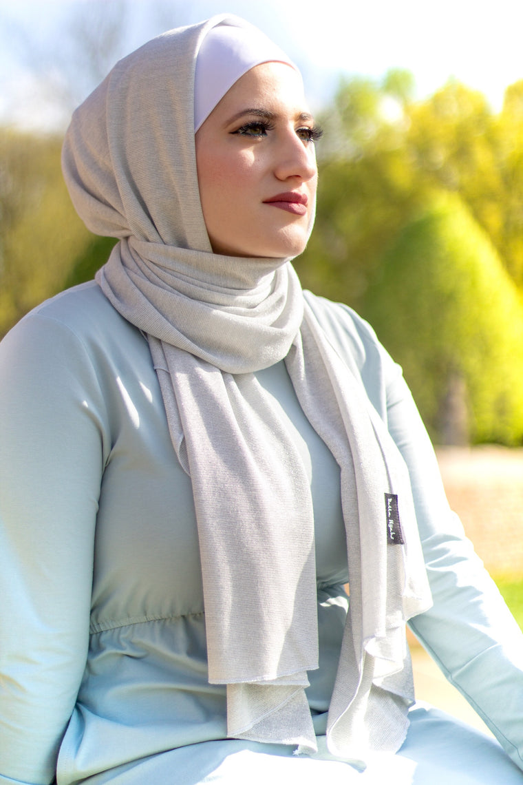 Shimmer Jersey Hijab - Silver
