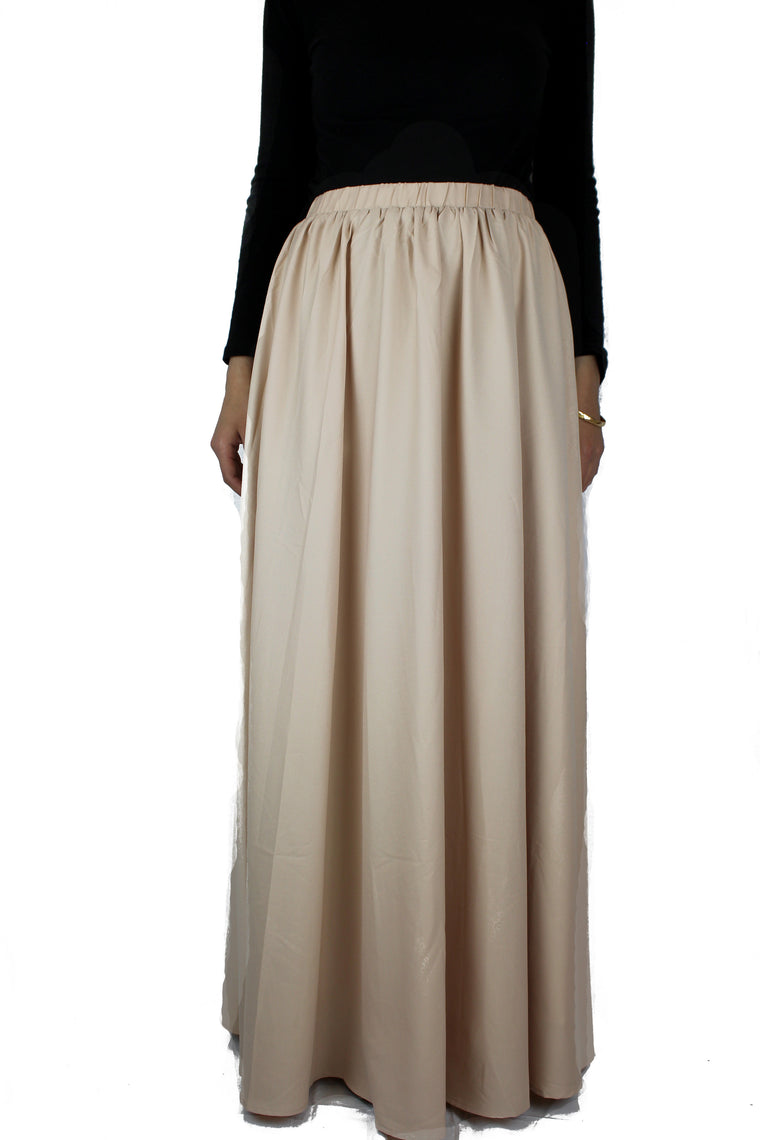 high waisted skirt in ivory with pockets