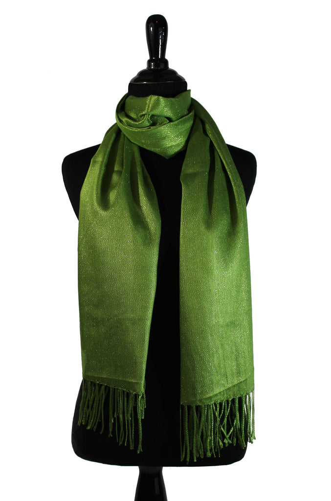 lime shimmer hijab with tassels