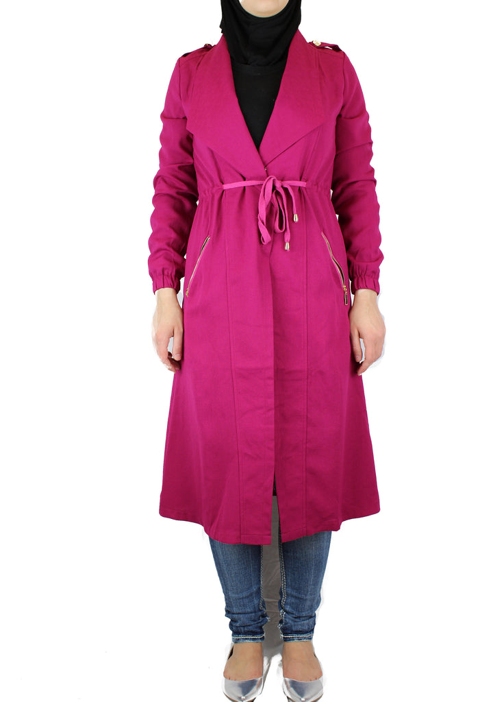 long sleeved magenta maxi cardigan with pockets and a waist tie