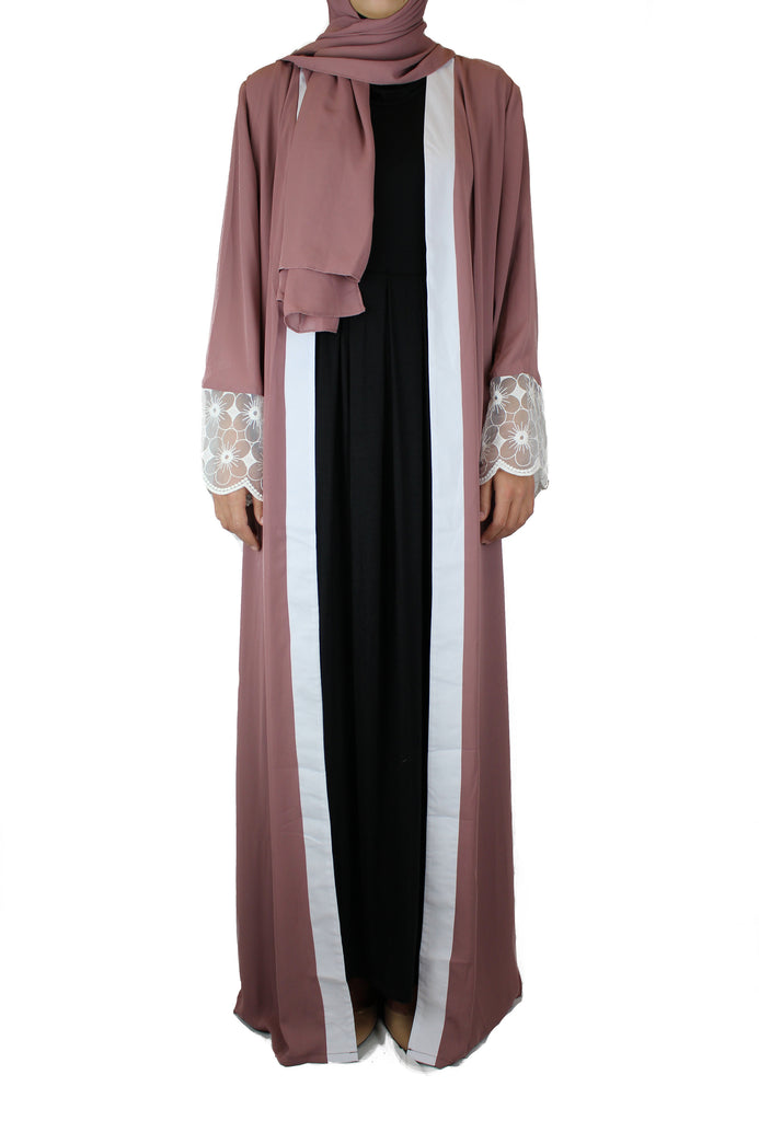 abaya in mauve embellished with lace sleeves and a matching hijab