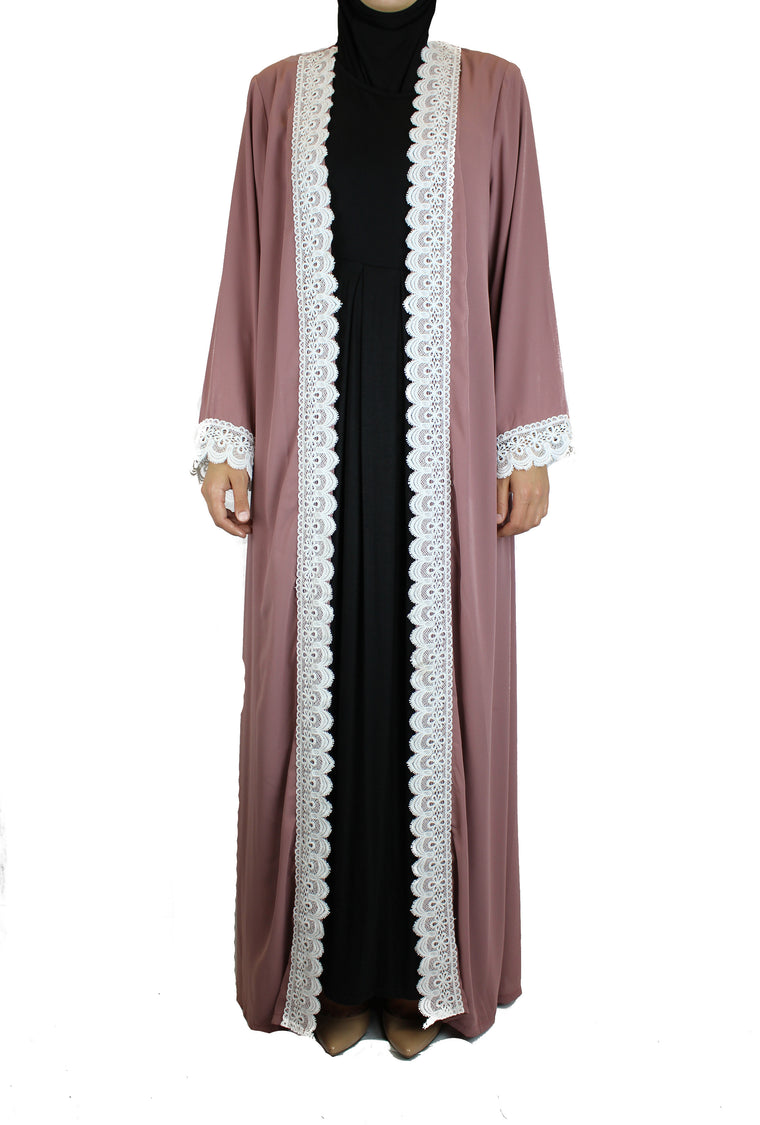 Lace Trim Open Abaya - Mauve