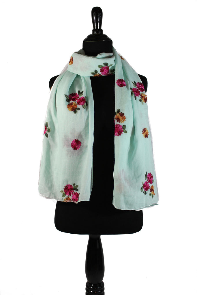 Wild Garden Embroidered Hijab - Mint
