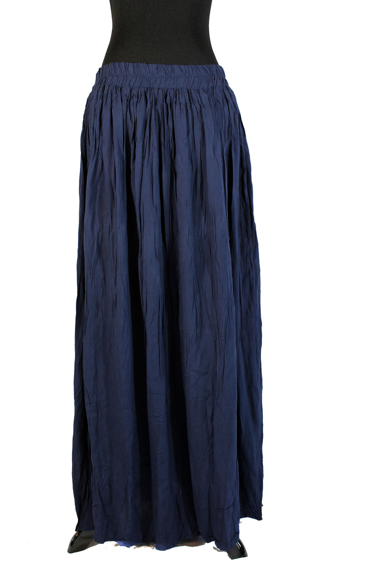 Pleated Maxi Skirt - Navy Blue