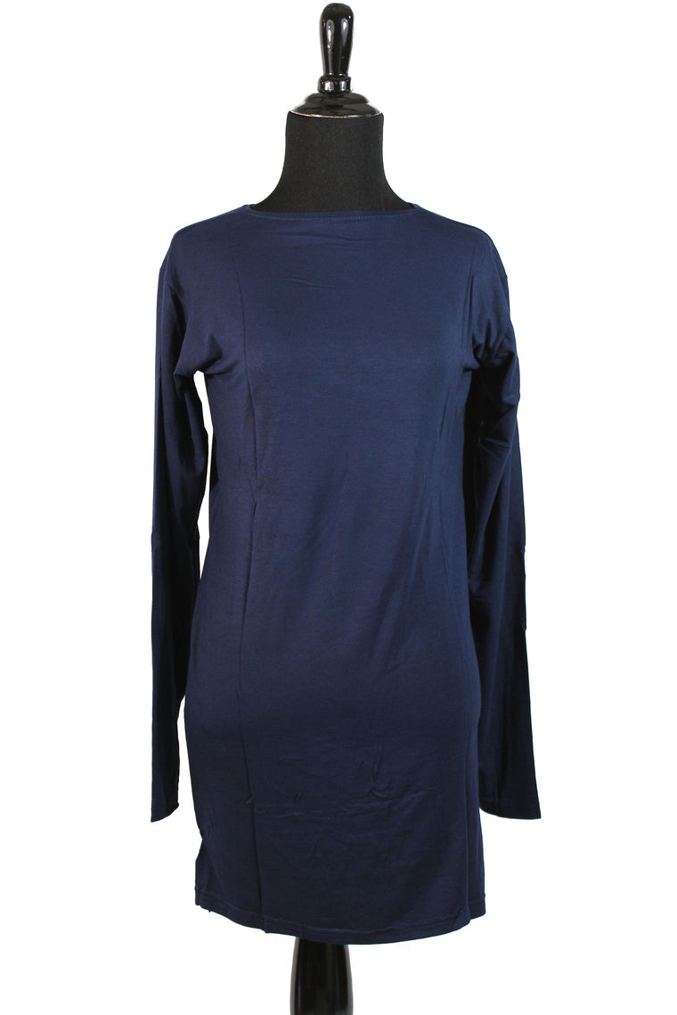 Extra Long Sleeve Basic Top - Navy Blue