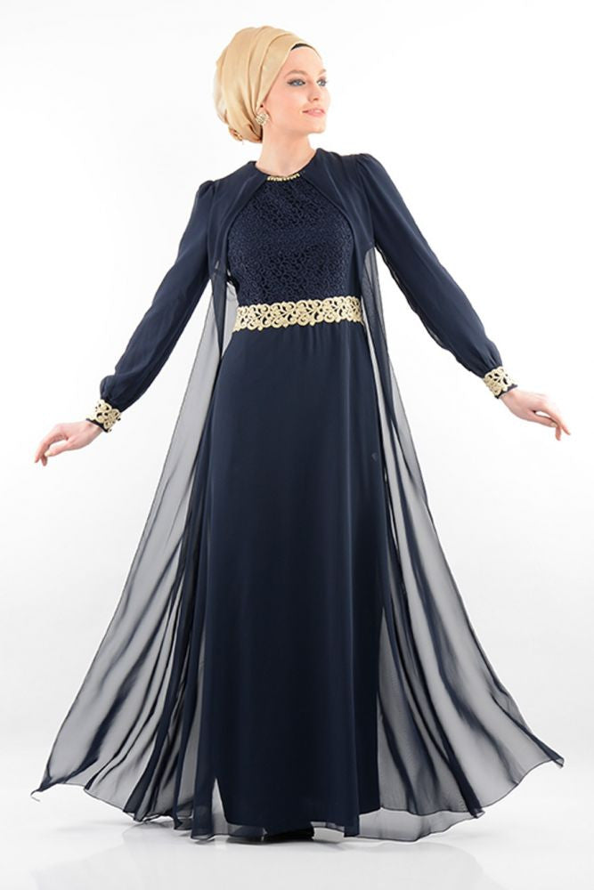 Elegant Abaya With Chiffon Vest - Navy Blue