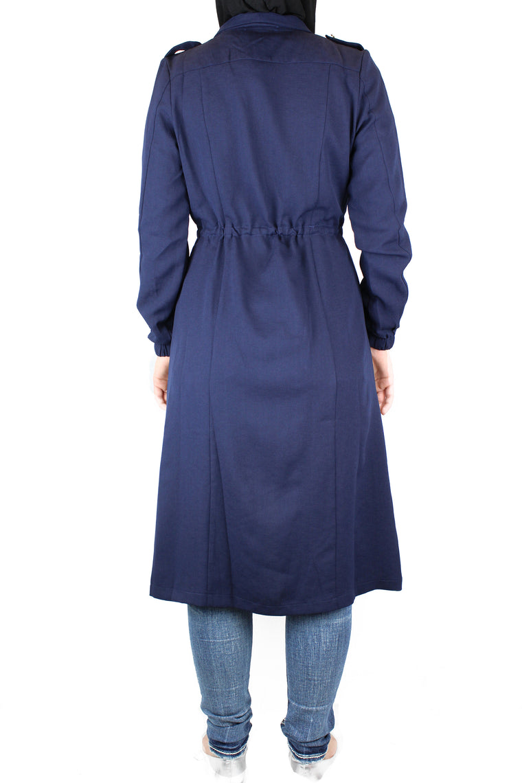 long sleeved navy maxi cardigan with pockets and a waist tie