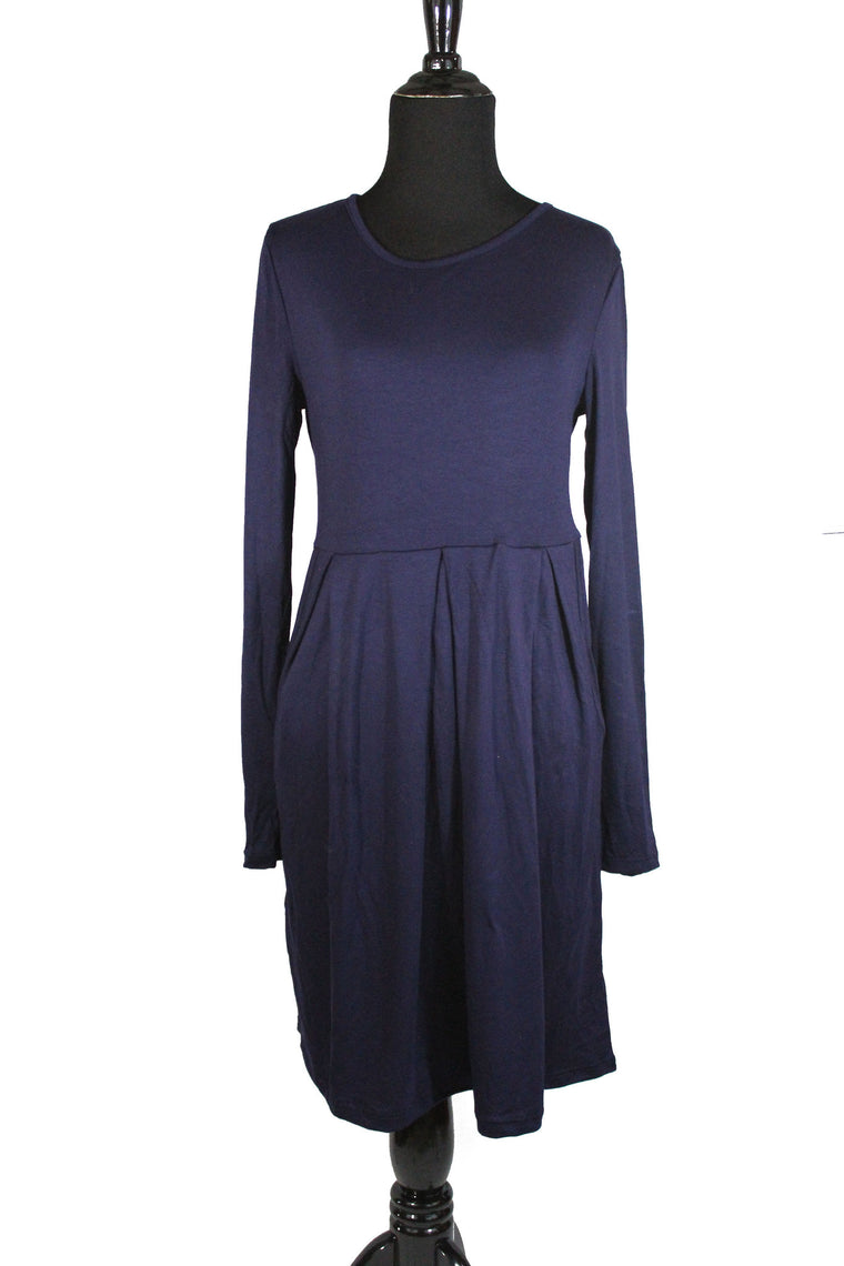 Midi Dress with Pockets - Navy