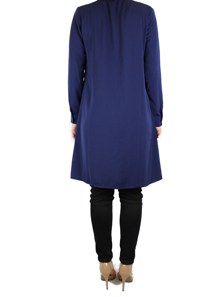 navy modest long sleeved dress shirt with pockets and a collar