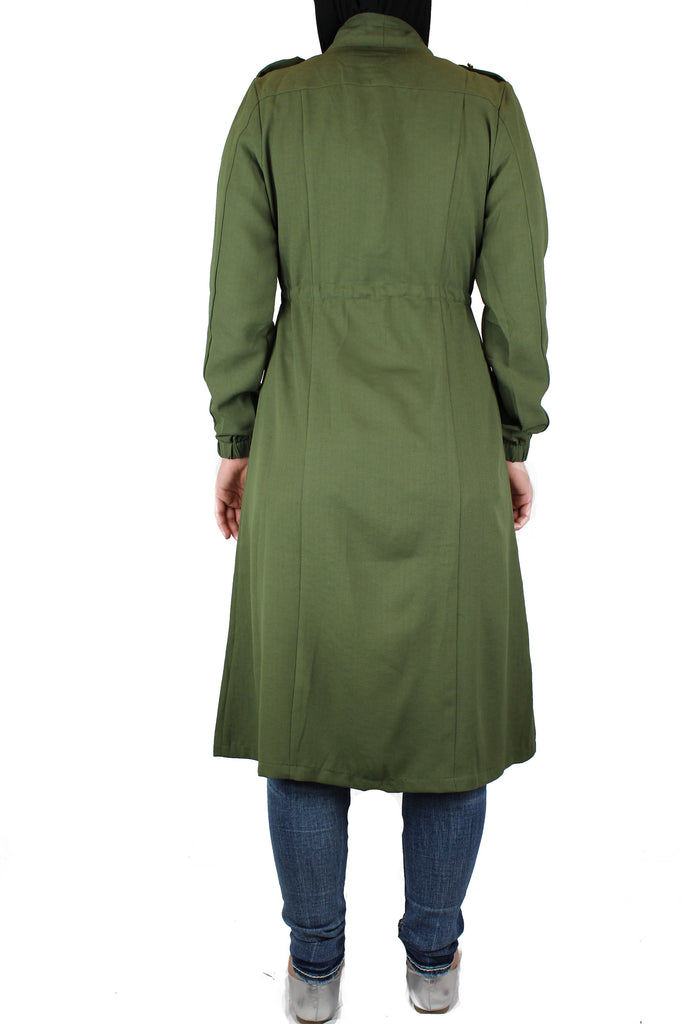 Open Front Abaya - Olive Green