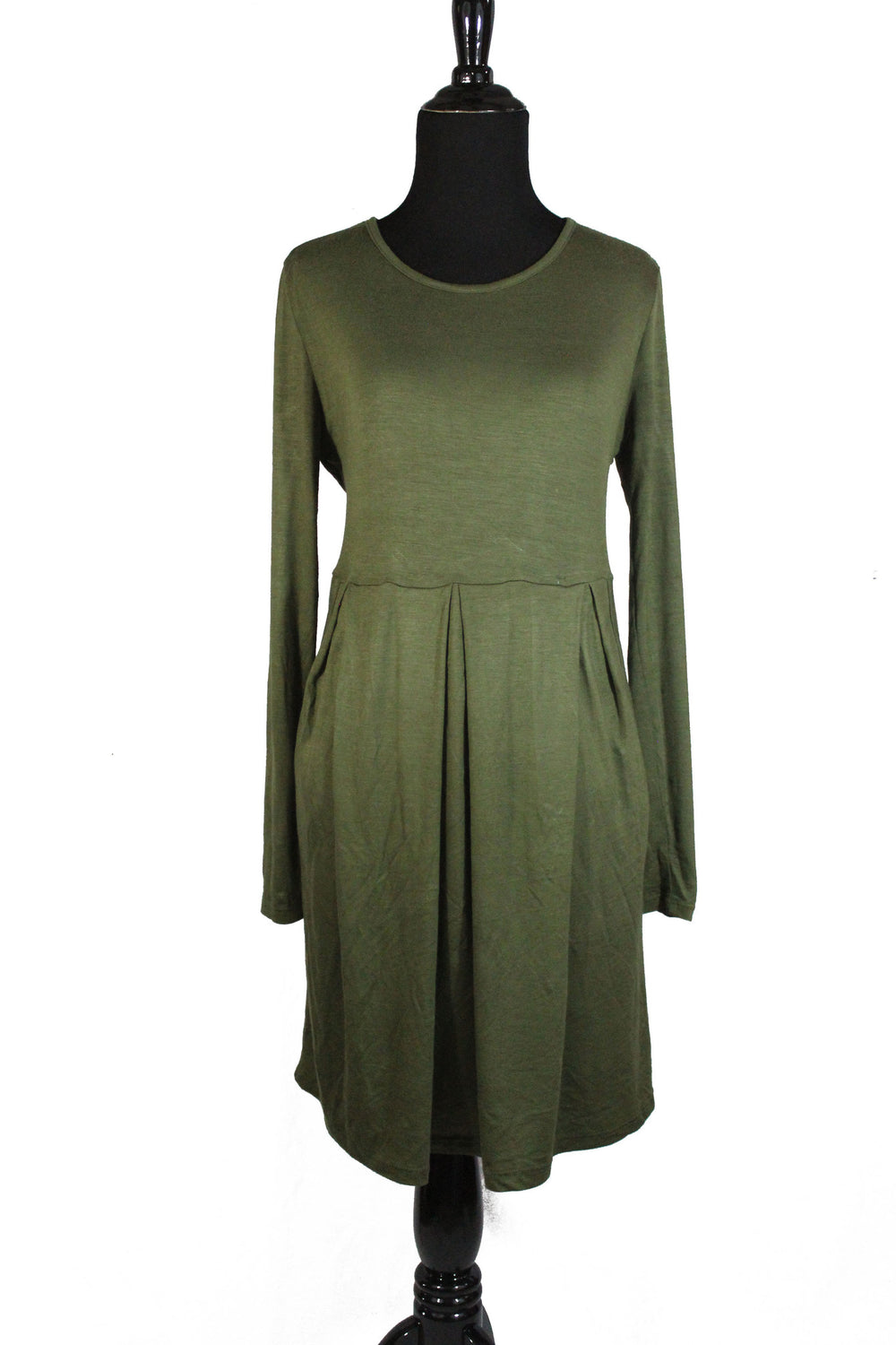 olive long sleeved midi top with an aline and pleats