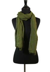 Crinkle Cotton Hijab - Olive Green