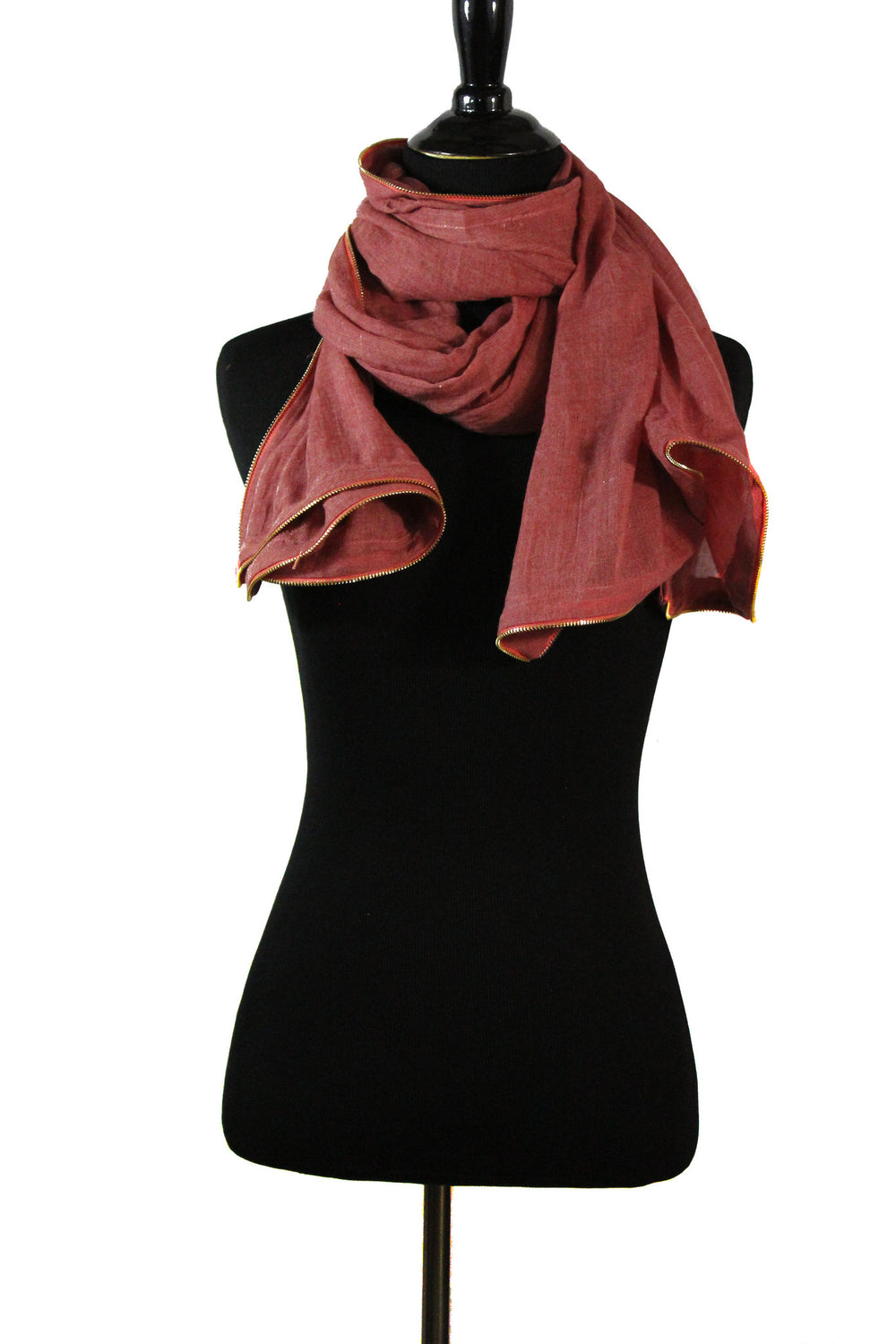 Viscose Zipper Trim Hijab - Peach